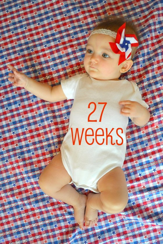 baby on star spangled fabric